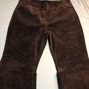 moda international/christie fit brown suede pants